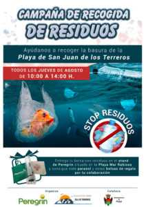 Peregrín activa la campaña de recogida de residuos en la playa de San Juan de los Terreros